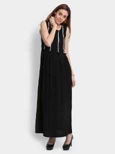 Global Desi Women Black LIVA Regular Fit Maxi Dress