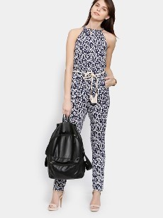 Deal Jeans Women Navy & White Printed Jumpsuit