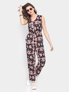 Faballey Women Black Floral Print Regular Fit Jumpsuit