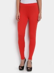 abof Women Orange LIVA Slim Fit Leggings