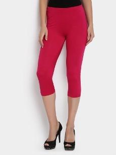 abof Women Pink LIVA Cropped Slim Fit Leggings