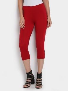 abof Women Red LIVA Cropped Slim Fit Leggings