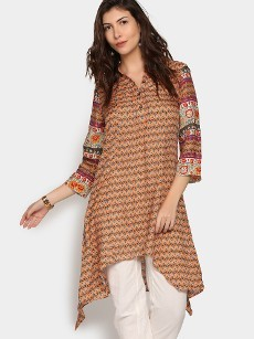 Global Desi Women Orange LIVA Printed Regular Fit Tunic