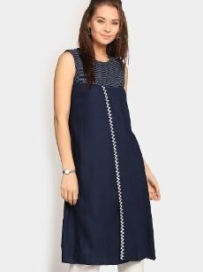 Global Desi Women Navy LIVA Regular Fit Tunic