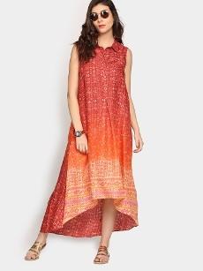 Global Desi Women Brick Red & Orange LIVA Printed Maxi Dress
