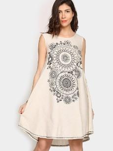 Global Desi Women Off-white LIVA Printed A-line Tunic