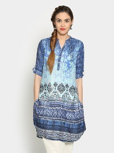 Global Desi Women Blue Printed LIVA Regular Fit Tunic