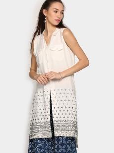 Global Desi Women Off-white LIVA Regular Fit Tunic