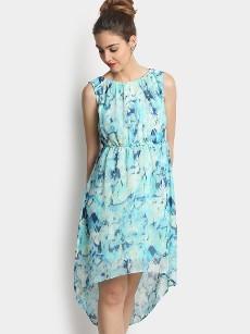 109F Women Off-white & Blue LIVA Printed Regular Fit A-line Dress