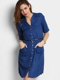 109F Women Navy LIVA Regular Fit Shirt Dress