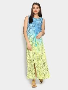 Global Desi Women Yellow & Blue LIVA Ombre Dyed Printed Regular Fit Maxi Dress