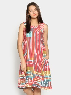Global Desi Women Multicolor Printed LIVA Regular Fit Sheath Dress