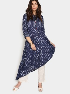Global Desi Women Navy LIVA Daboo Print Regular Fit Kurta