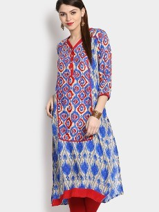 Shree Women Blue LIVA Printed Regular Fit Kurta