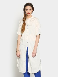 Global Desi Women Off-white LIVA Regular Fit Kurta