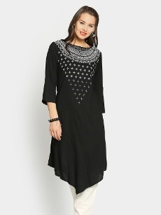 Global Desi Women Black LIVA Regular Fit Kurta