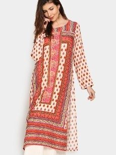 Global Desi Women Beige & Red LIVA Printed Regular Fit Kurta