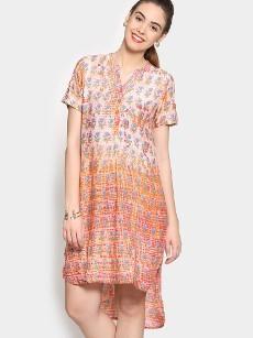 Global Desi Women Orange Printed LIVA Comfort Fit Tunic