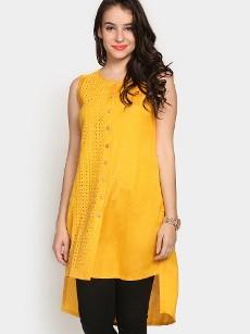 Global Desi Women Mustard Yellow LIVA Regular Fit Tunic