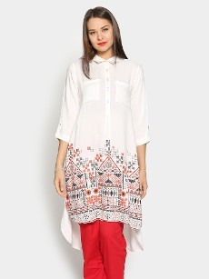 Global Desi Women White LIVA Printed Regular Fit Tunic